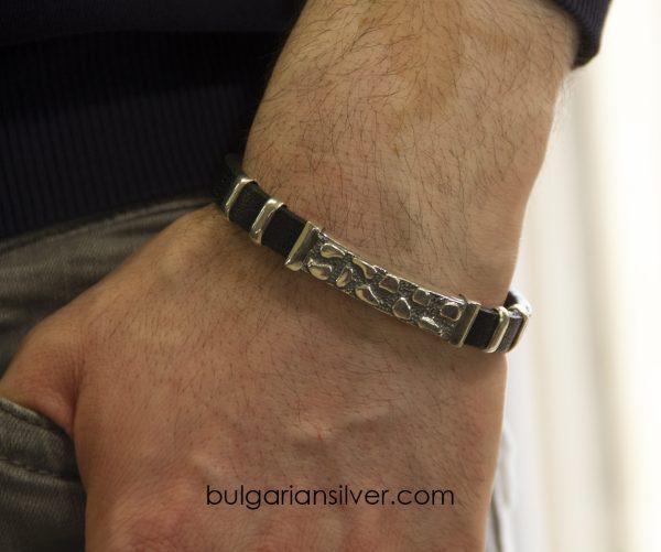 Гривна за мъж, кожа и сребро 925, Модел 1006