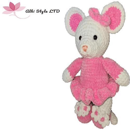 """Плетено плюшено мишле """"Миша"""" в бяло и розово"""
