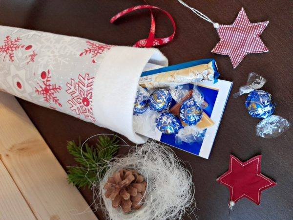 Коледна ватирана торбичка за лакомства и бонбони