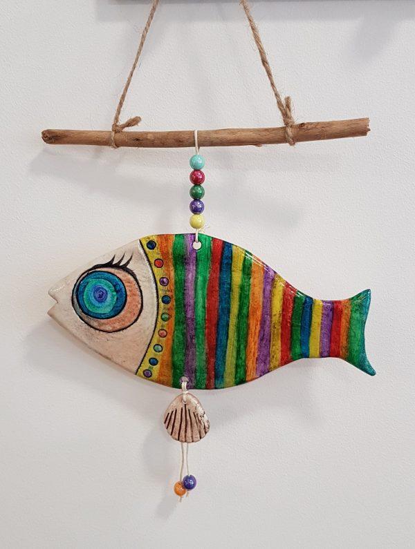 """Керамична фигура - риба """"Цветни раета"""""""