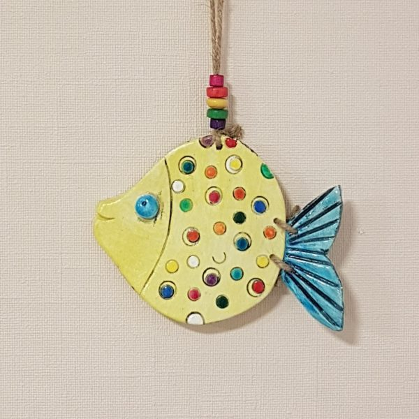 """Керамична фигура - риба """"Шарените точки"""""""