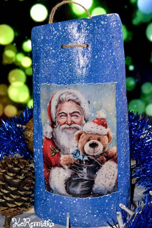 Коледен подарък - ръчно изработена керемида с Дядо Коледа