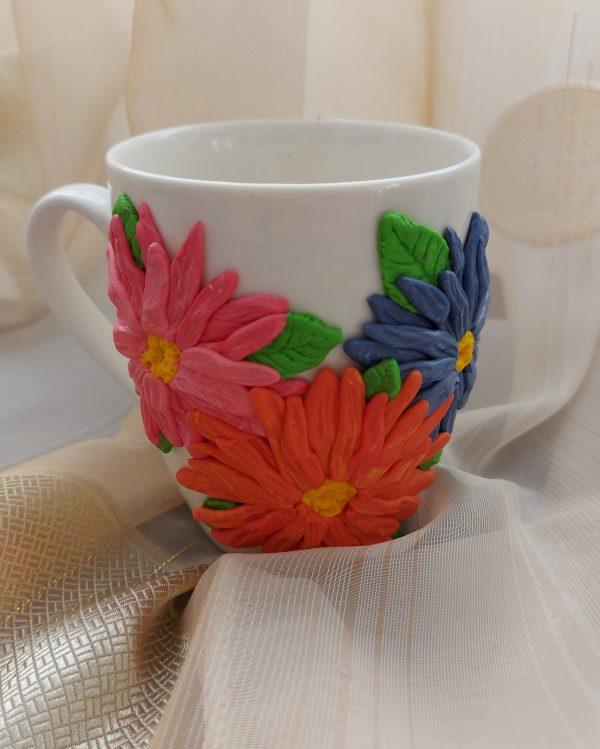 "Чаша с декорация от полимерна глина ""Свежи цветя"""