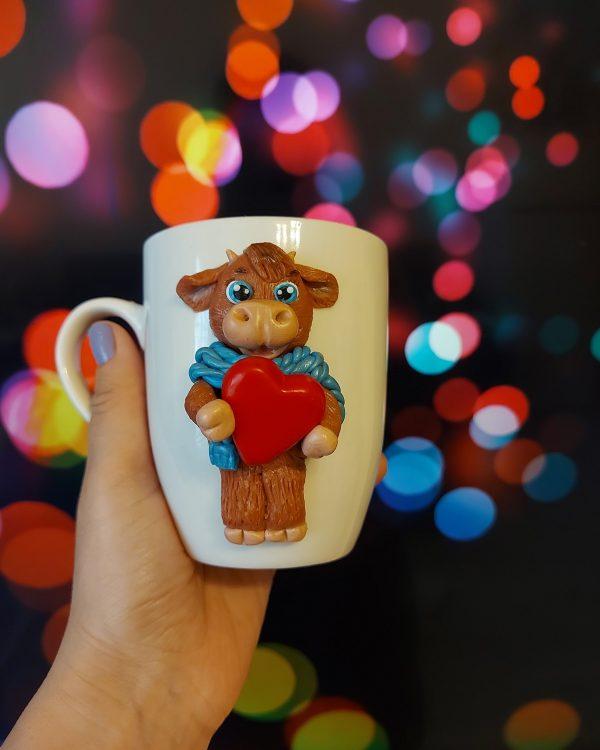 """Чаша с декорация от полимерна глина """"Железния бик"""""""