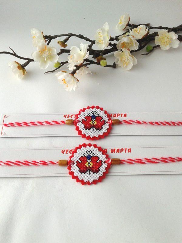 Мартеница-гривна с бродерия