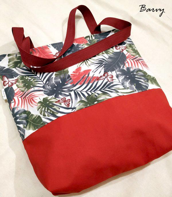 Текстилна чанта с папрати и червено