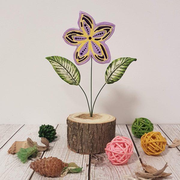 Керамично цвете с щипка 034