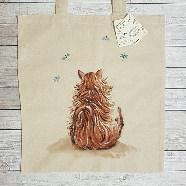"""Текстилна торбичка """"Коте с водни кончета"""""""