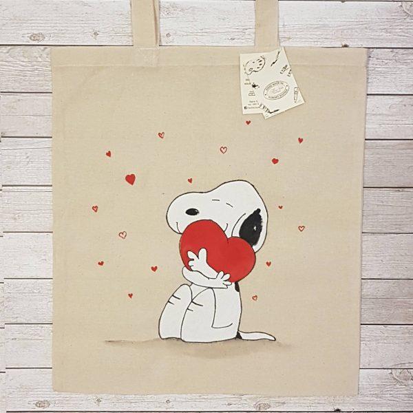 """Текстилна торбичка """"Снупи със сърце"""""""
