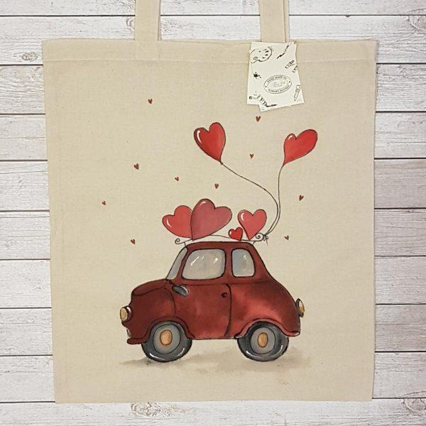 """Текстилна торбичка """"Автомобилче с балони"""""""