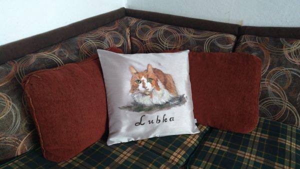 Възглавничка с вашият домашен любимец, рисувана от снимка, сувенир