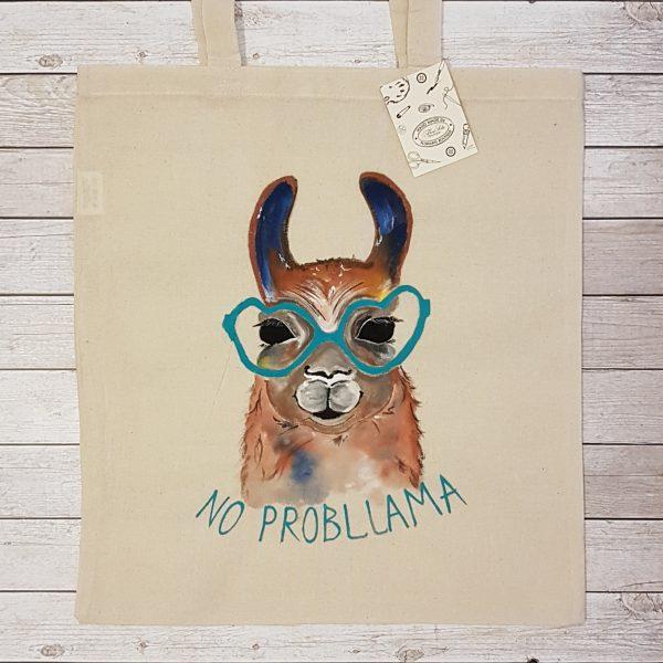 "Текстилна торбичка ""Llama No probllama"" """