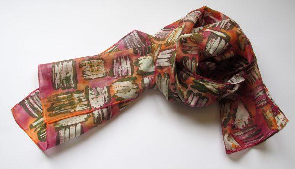 Ръчно рисуван копринен шал