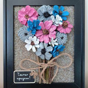 Пано #Цветя от шишарки, ръчна изработка