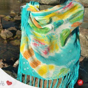 Ленен триъгълен шал с ресни