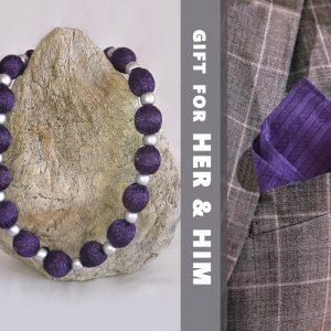 Комплект лилави копринени огърлица и кърпичка за костюм - наличен