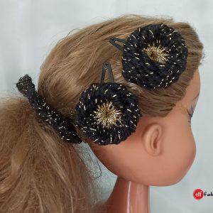 Вечерен комплект аксесоари за коса в черно