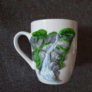 """Чаша """" Водопад"""" с декорация от полимерна глина."""