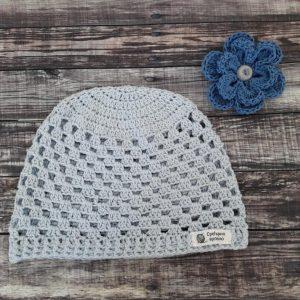 Памучна бебешка шапка за есен и пролет в размери 46, 48 и 50