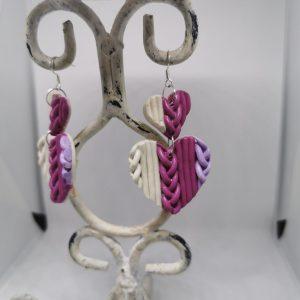 Обеци от полимерна глина със сребърна закачалка - цвят бяло и розов
