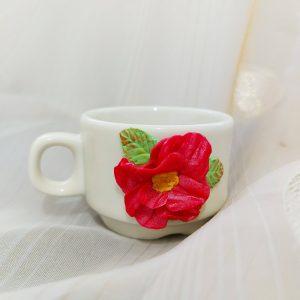 Малка чаша с декорация от полимерна глина